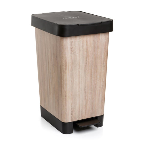 Cubo con Doble Apertura Tatay Smart Bin 25L, Pedal Retractil y Manual, Deco Wood