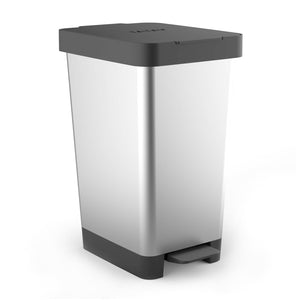 Cubo con Doble Apertura Tatay Smart Bin 25L, Pedal Retractil y Manual, Steel Gris