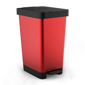 Cubo con Doble Apertura Tatay Smart Bin 25L, Pedal Retractil y Manual, Steel Rojo