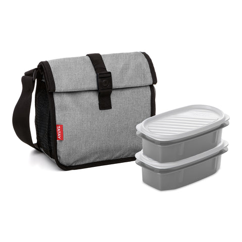 Tatay Urban Food Roll & Go Denim Grey con 2 Top Flex 0.5L
