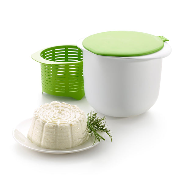 Lékué Fresh Cheese Maker, Kit para hacer Queso Fresco en Casa, 1L Verde
