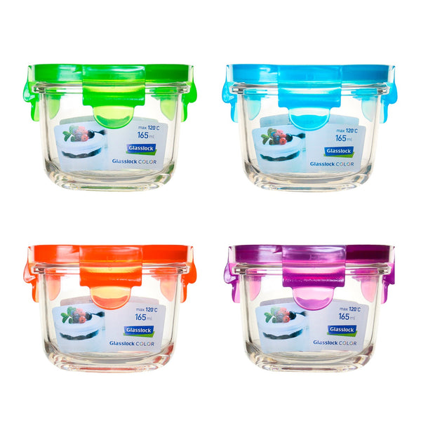 Pack 4 Recipientes Herméticos Glasslock Classic Microondas 165ml. 4 Colores