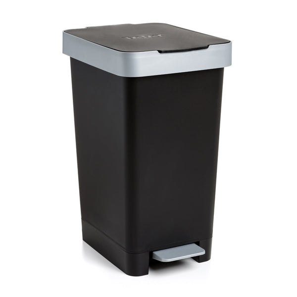 Cubo con Doble Apertura Tatay Smart Bin 25L, Pedal Retractil y Manual, Color Negro