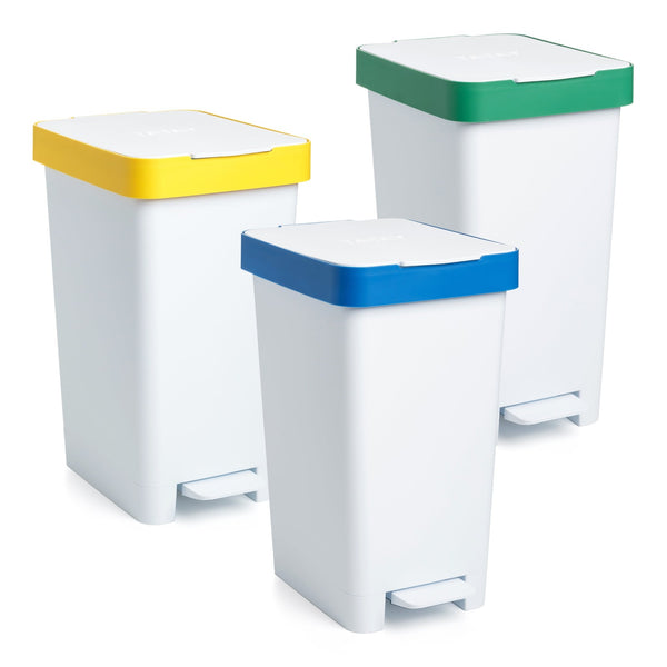 Cubo con Doble Apertura Tatay Smart Bin 25L, Pedal Retractil y Manual, Gama Reciclaje