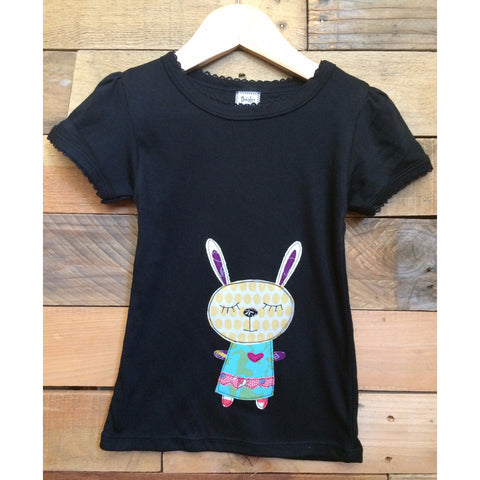 Patchwork Bunny Black T-shirt - Baby Lux Design