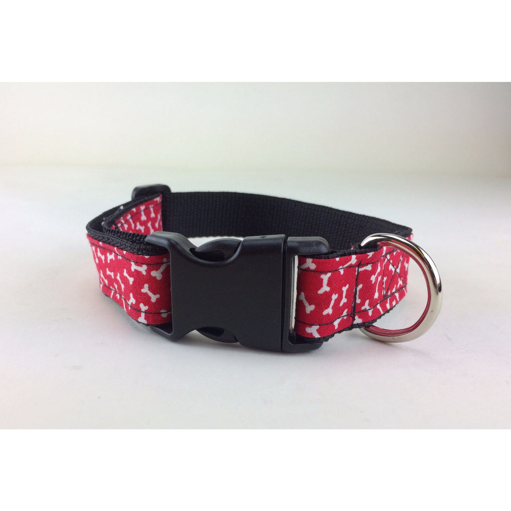 Red, White & Bones Collar - BabyLuxDesign