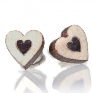 Wood Heart Mini Stud Earrings - BabyLuxDesign