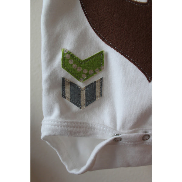 Baby Lux Design bear baby onesie close up detail