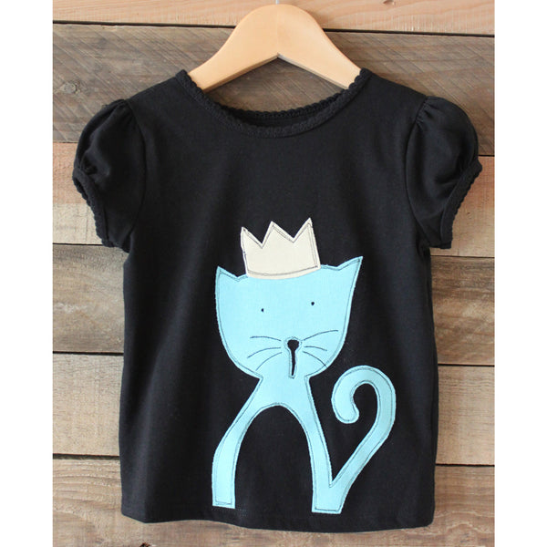 Girls black Tshirt with fabric applique of kitty wearing a crown