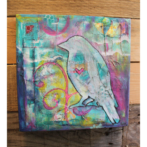 """Bird On"" Original mixed media painting by Tyler Larsen - BabyLuxDesign"