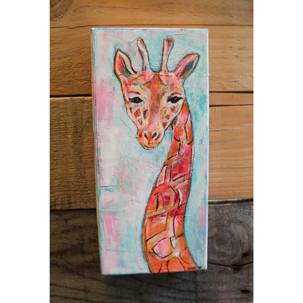 Giraffe mixed media painting