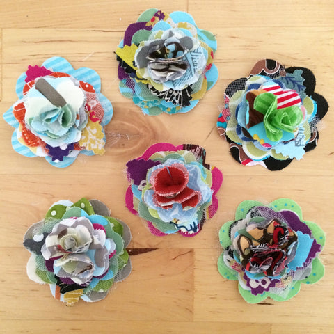 Fabric Flower hair clips by Baby Lux Design