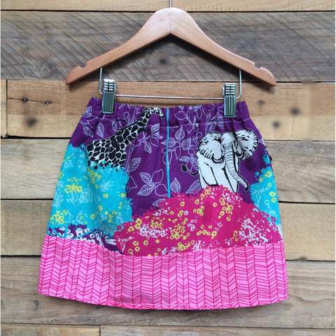 Girls Safari animal purple print skirt with pink herringbone print band
