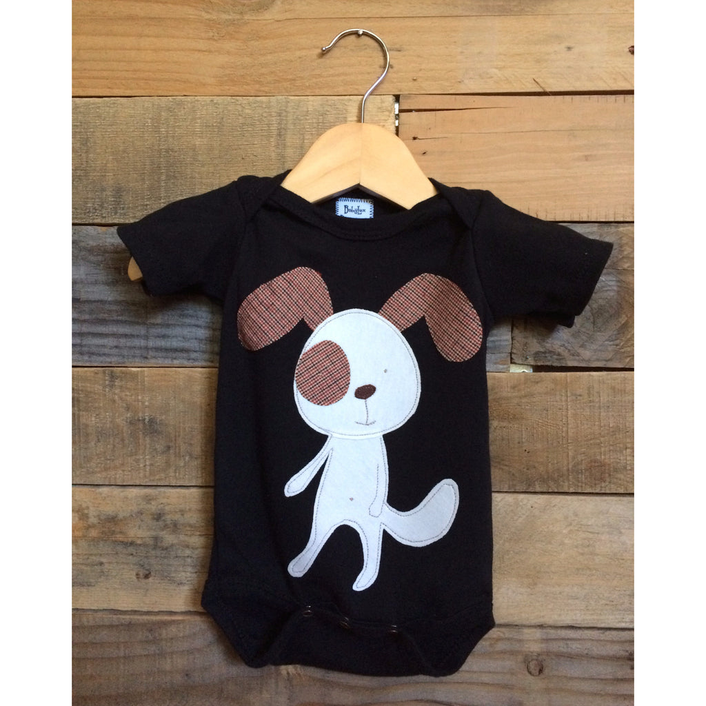 Dog appliqué on black cotton baby onesie by Baby Lux Design