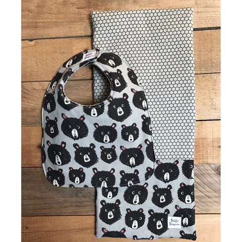 Curious Bear Bib & Burp Cloth Set - BabyLuxDesign