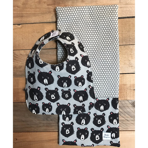 Bear Print Reversible Baby Bib and burp cloth set front view