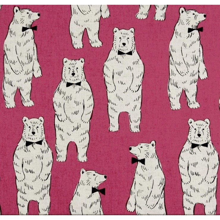 Kokka Bear with bowties pink fabric