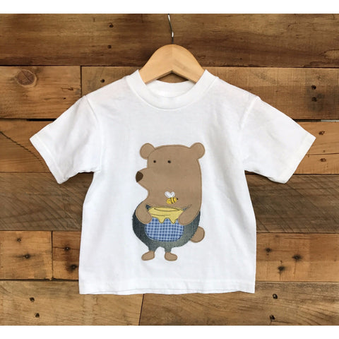 Baby Lux Design Honey Bear Applique white unisex Tshirt