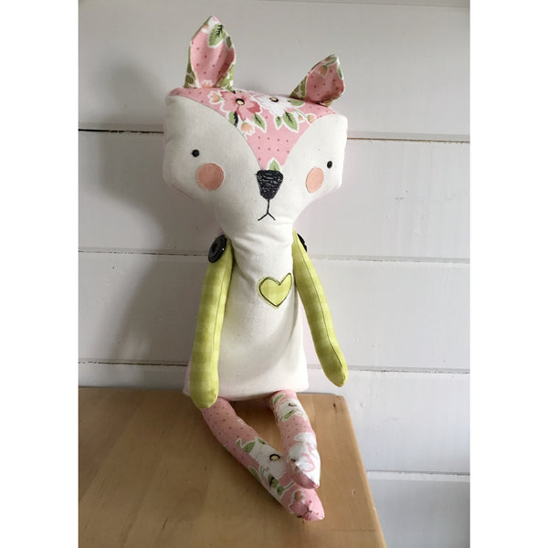 Handmade fox fabric doll by Tyler Larsen