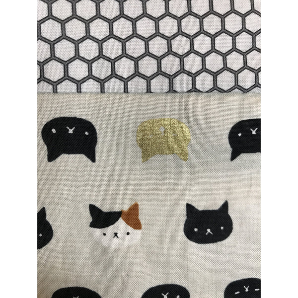kitty print fabric close up