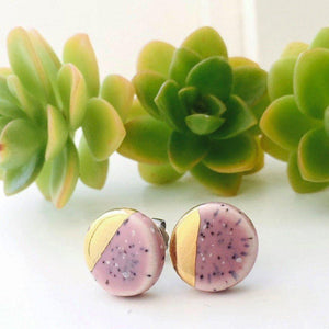 Gold Lustre Stud Earrings-Earrings | Sea Soul Studio | Handmade Artisan Ceramics Tasmania