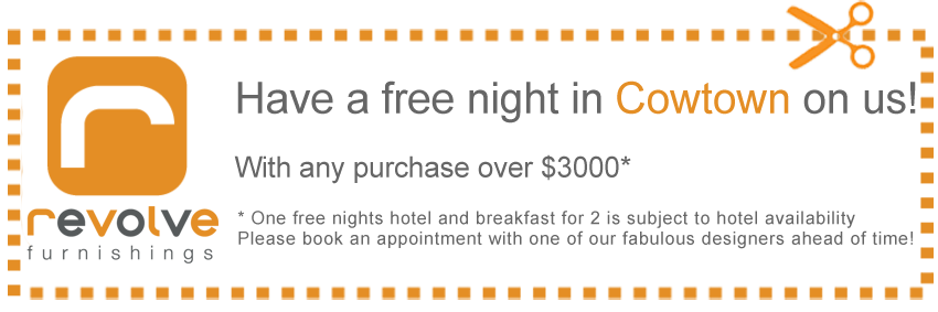 Coupon free hotel stay for out of town customers purchasing over $3000.