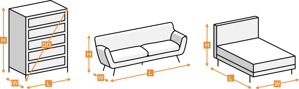 Measurements of furniture pieces