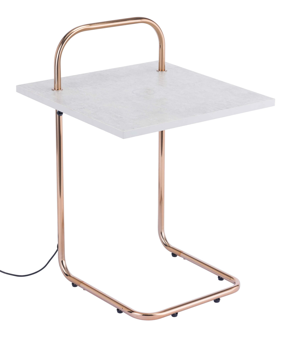 Essex Wireless Charging Side Table Concrete & Gold