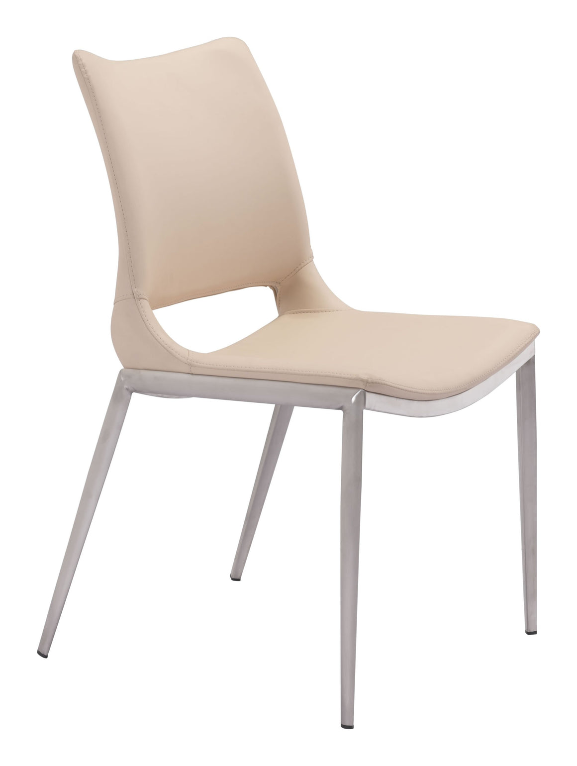 Ace Dining Chair Light Pink & Brushed Stainless Steel