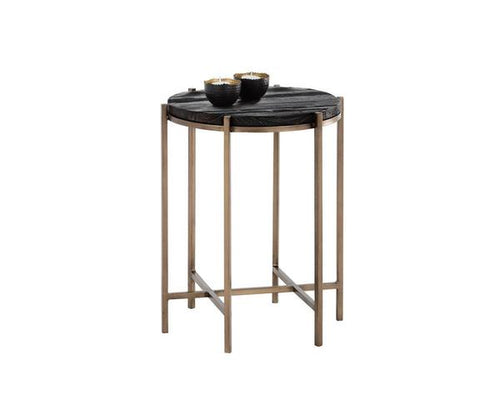 Rohan End Table - Antique Brass/Black/Brown