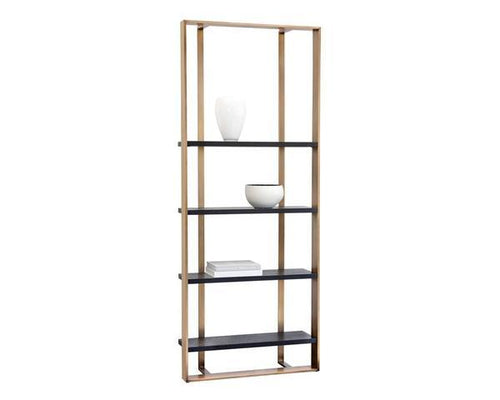 Dalton Bookcase - Antique Brass/Black