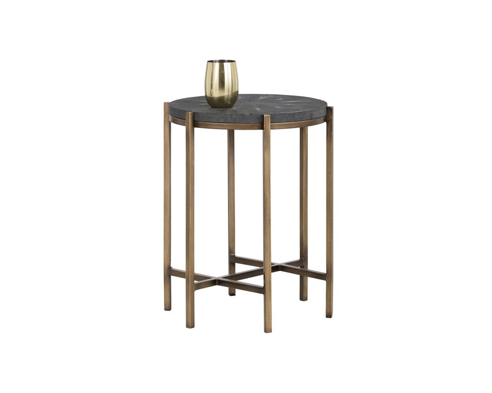 Picture of Rohan End Table - Antique Brass/Light Grey Shagreen
