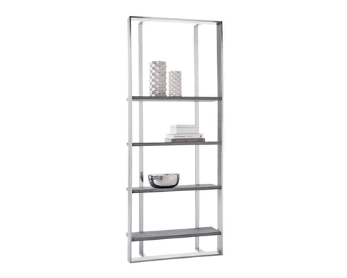 Dalton Bookcase - Stainless Steel/Grey