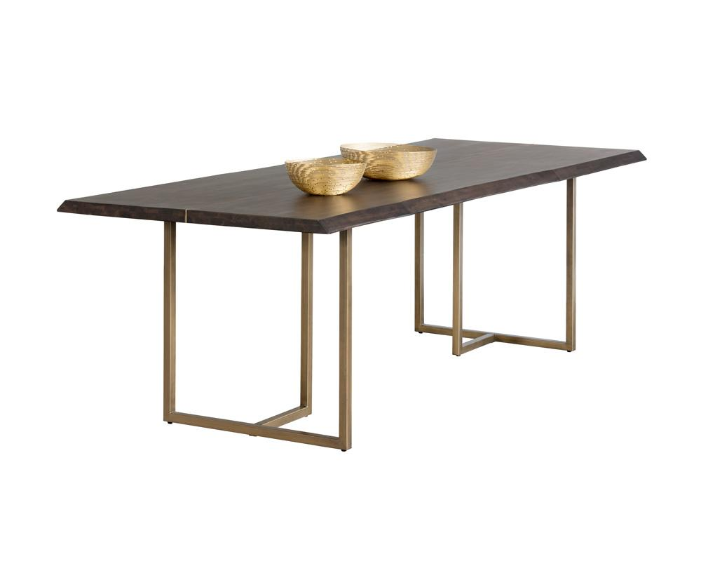 Picture of Donnelly Dining Table - Antique Brass - Dark Mango - 95""