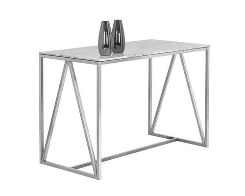 Abel Counter Table - Stainless Steel with White Marble