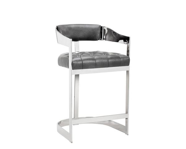 Beaumont Counter Stool - Stainless Steel/Cantina Magnetite