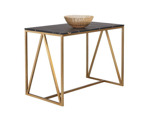 Abel Counter Table - Gold with Black Marble