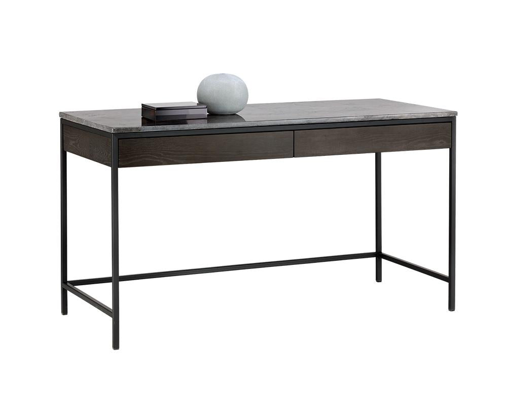 Picture of Stamos Desk - Black - Light Grey Marble/Charcoal Grey