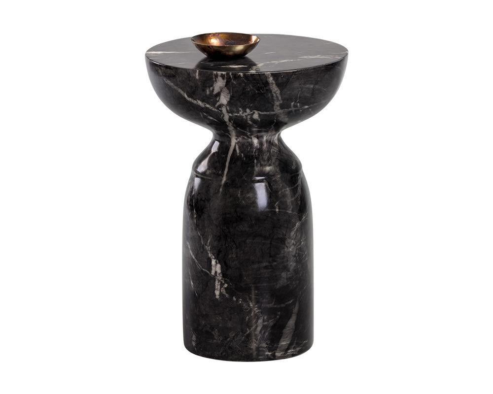 Goya End Table - Marble Look Black