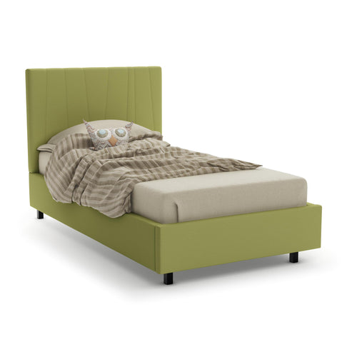 Modern upholstered adjustable bed with matte black metal legs