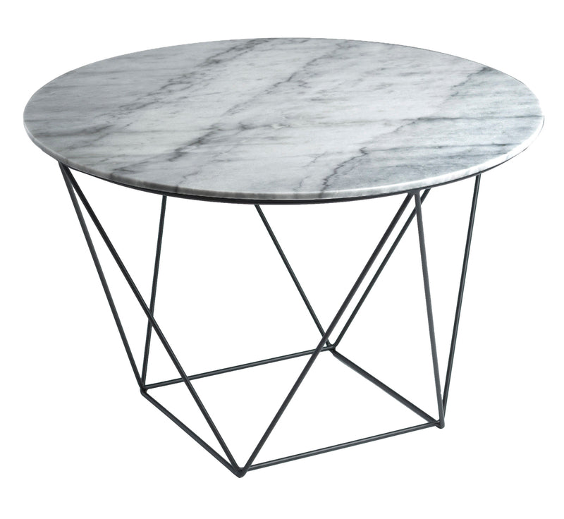 Valencia Round Side Table - White & Grey Blend Marble/Black Matte Base