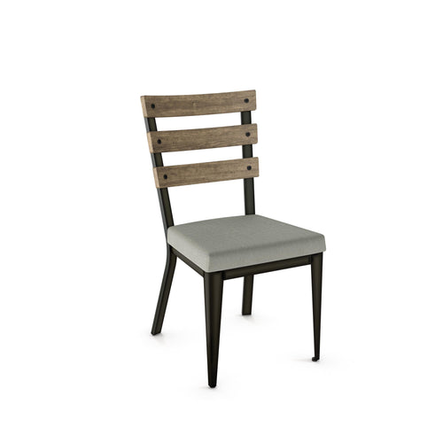 Modern dining chair with upholstered seat, slatted wooden back, and steel frame