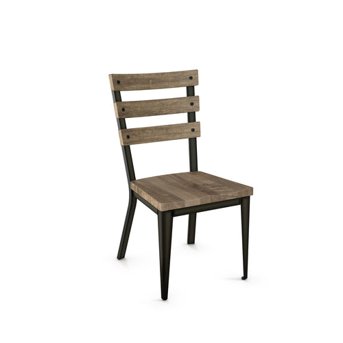 Modern dining chair with wooden seat, slatted wooden back, and steel frame