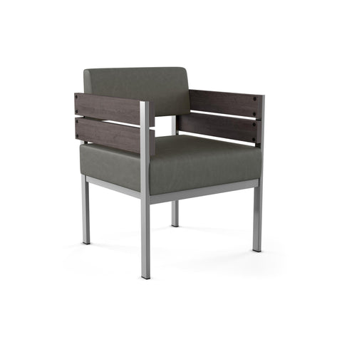 Modern arm chair with upholstered seat, metal frame, and wood arms