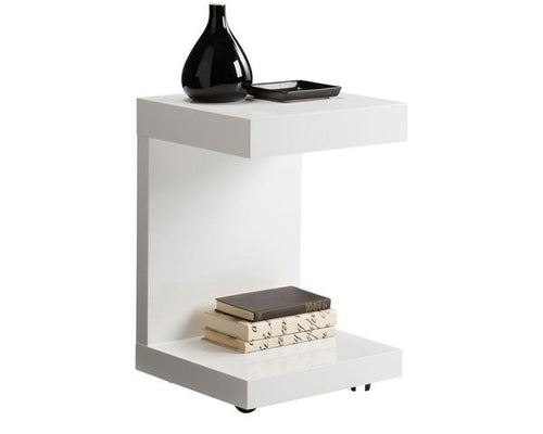 Bachelor End Table - High Gloss White