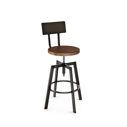 Modern adjustable wood counter stool with steel frame and back