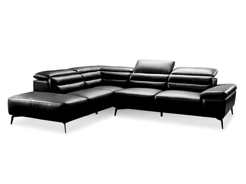 Camello Leather Sectional Black