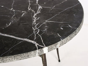 White modern marble coffee table with unfinished iron legs