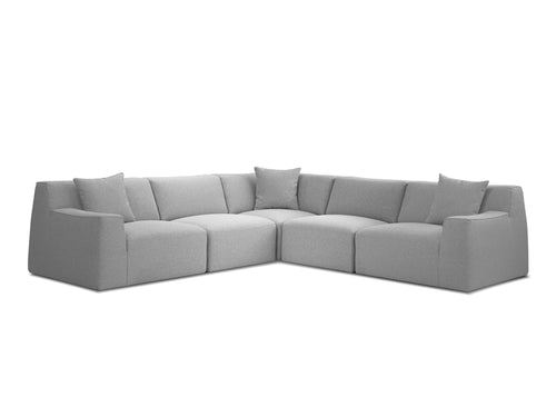 Scoop Fabric Sectional Heather Grey