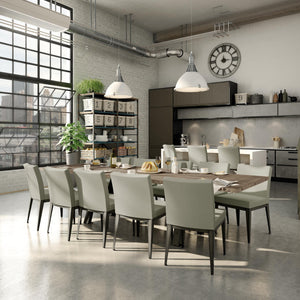 Modern industrial wood dining table with metal base